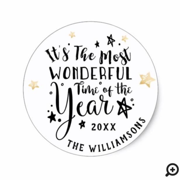 Most Wonderful Time of The Year | Modern Holiday Classic Round Sticker
