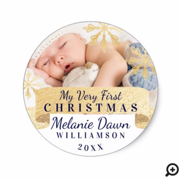 My First Christmas Baby Gold Snowflake Photo Classic Round Sticker