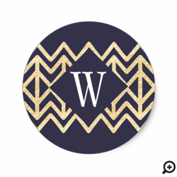 Navy & Gold Abstract Pine Tree Pattern Monogram Classic Round Sticker