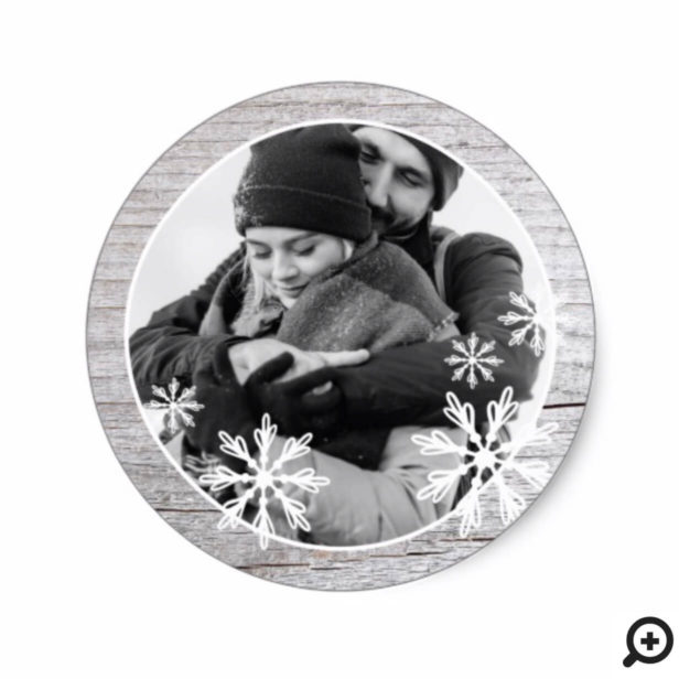 Rustic Grey Wood & Winter Snowflakes Holiday Photo Classic Round Sticker