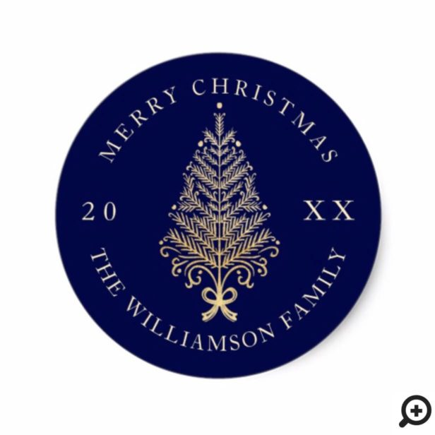 Navy Elegant Gold Holiday Merry Christmas Tree Classic Round Sticker