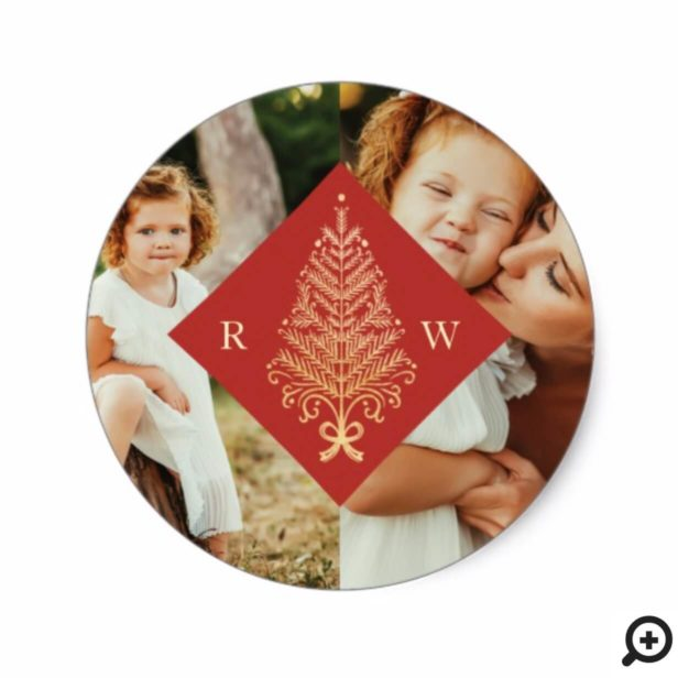 Red Elegant Gold Christmas Tree Monogram Two Photo Classic Round Sticker
