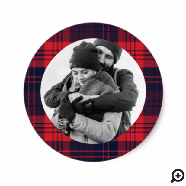 Red & Navy Lumberjack Plaid Frame Holiday Photo Classic Round Sticker