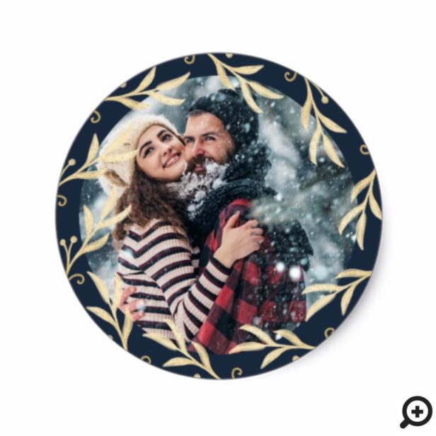 Modern Elegant Gold Berry & Holly Leaves Photo Classic Round Sticker