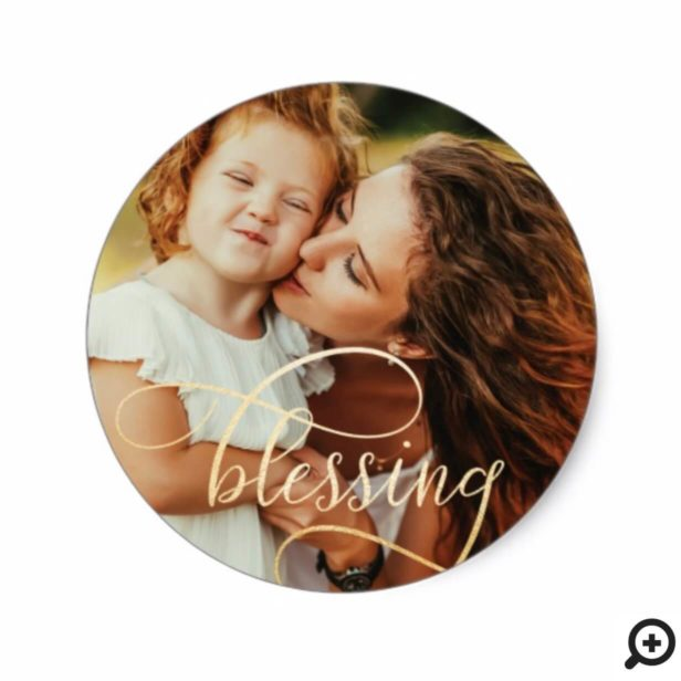 Elegant Blessing Gold Script Holiday Photo Classic Round Sticker