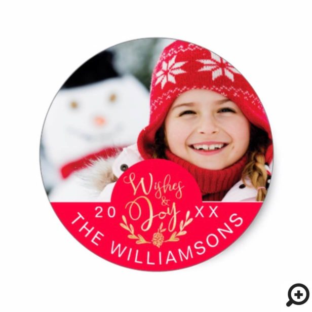 Gold Wishes & Joy Winter Christmas Crest Photo Classic Round Sticker