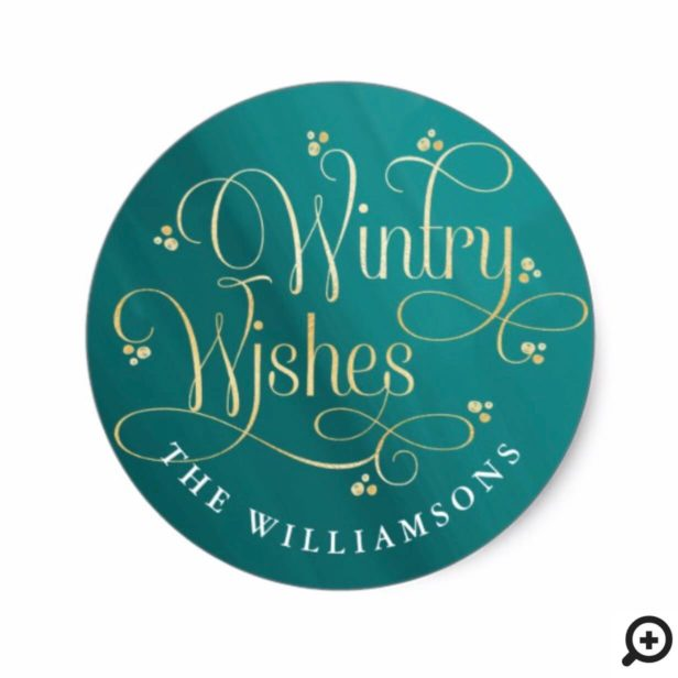 Elegant Wintry Wishes | Jade & Gold Typography Classic Round Sticker