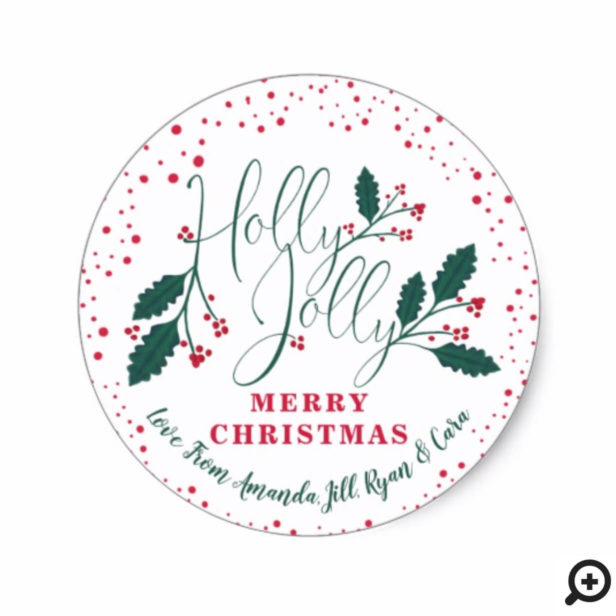 Holly Jolly | Festive Red Green Holly & Cranberry Classic Round Sticker