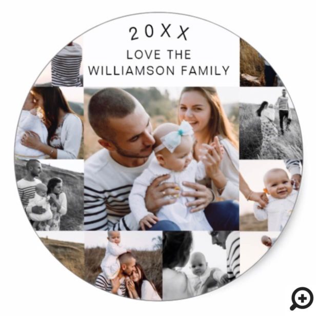 Multiple Grid Photo Collage Classic Round Sticker