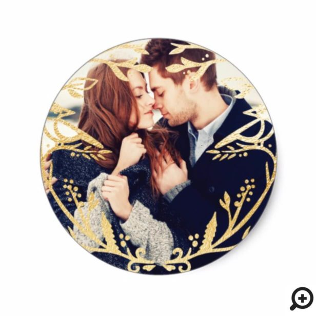 Regal Gold Bird & Branch Newlyweds Holiday Photo Classic Round Sticker