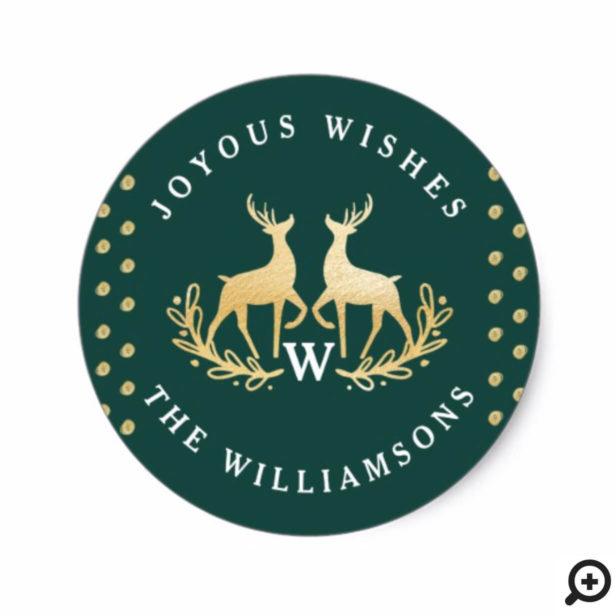 Joyous Wishes | Green & Gold Reindeer Family Crest Classic Round Sticker
