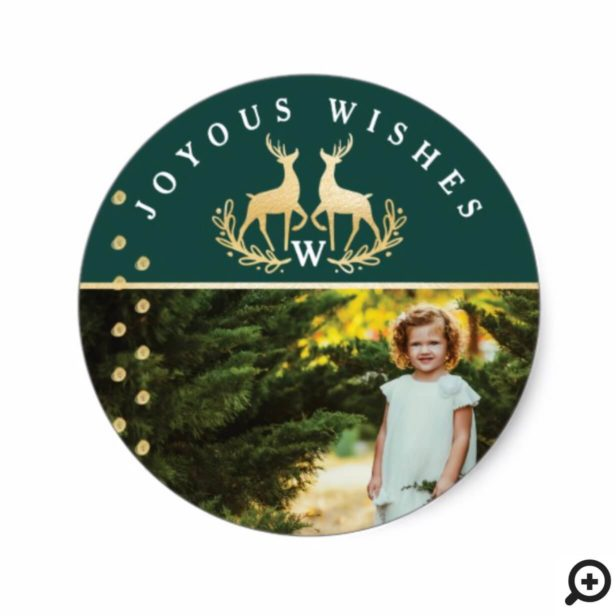 Joyous Wishes | Green & Gold Reindeer Crest Photo Classic Round Sticker