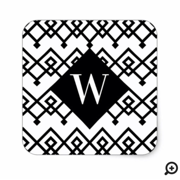 Black & White Trendy Geometric Pattern Monogram Square Sticker