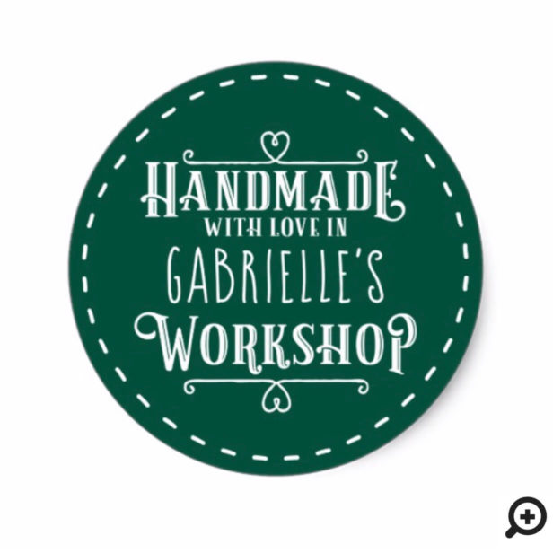 Green Personalized Handmade with Love in Workshop Classic Round Sticker