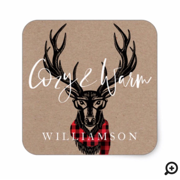 Cozy & Warm | Red Buffalo Plaid Reindeer Family Square Sticker