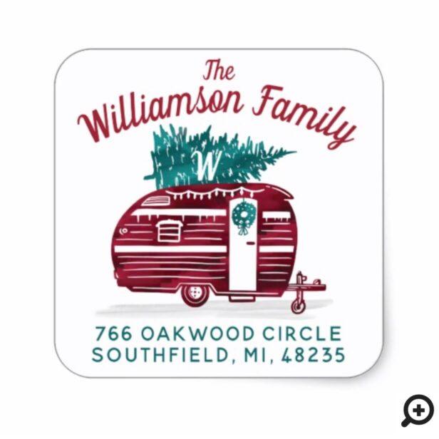 Vintage Camper Christmas Tree Monogram Address Square Sticker