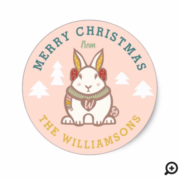 Merry Christmas Woodland Forest Bunny Holiday Classic Round Sticker