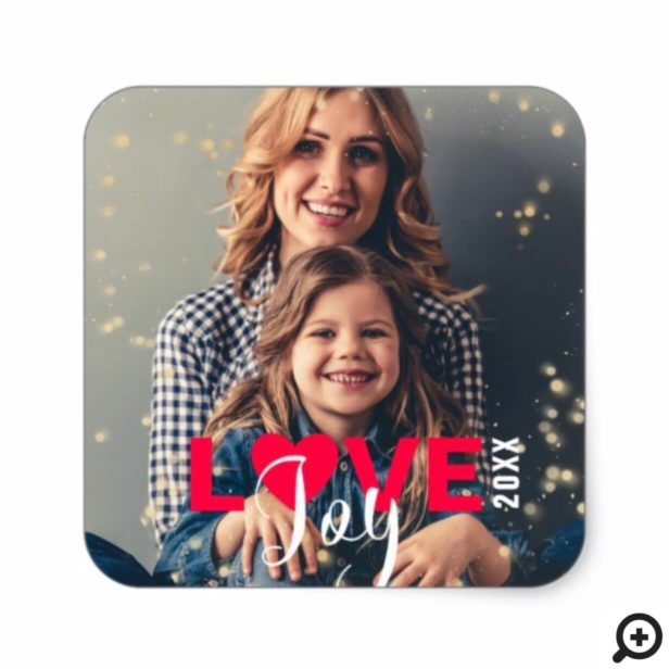 Love & Joy Modern Red & White Christmas Photo Square Sticker