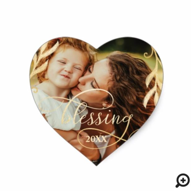 Elegant Gold Holly & Blessing Christmas Photo Heart Sticker