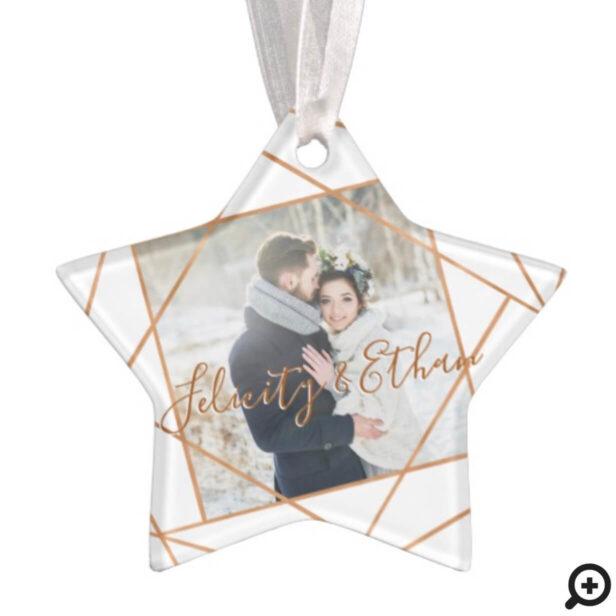 Mr & Mrs Christmas | Modern Copper Geometric Photo Ornament