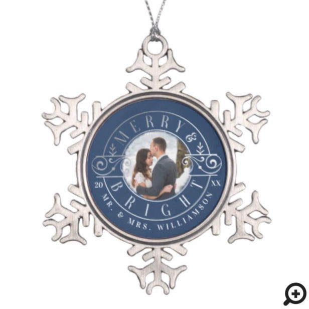 Merry & Bright Mr & Mrs Christmas Crest Photo Snowflake Pewter Christmas Ornament