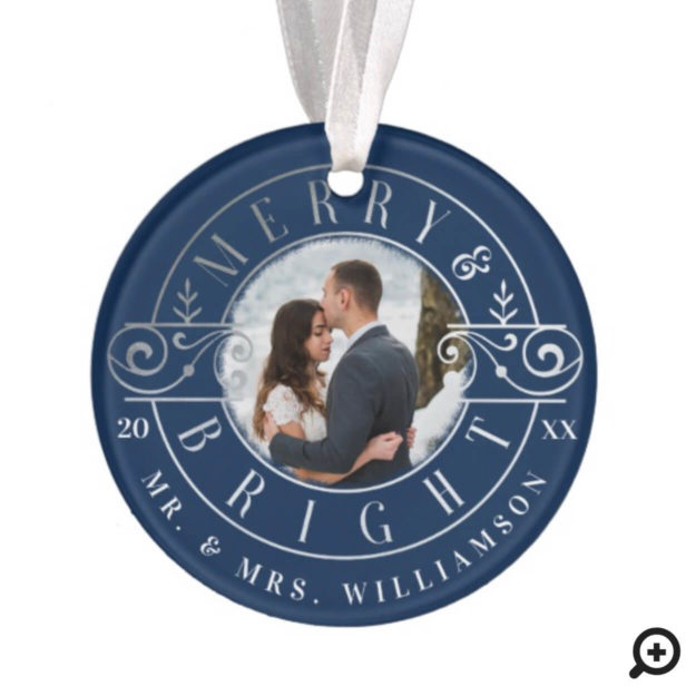 Merry & Bright Mr & Mrs Christmas Crest Photo Ornament