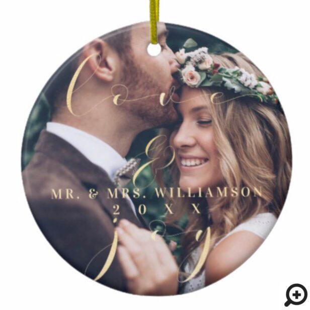 Love & Joy | Mr & Mr Multiple Photos Newlyweds Ceramic Ornament