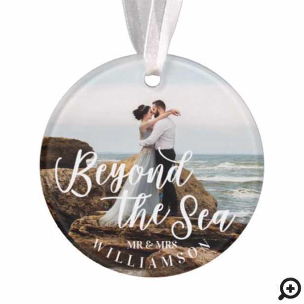 Beyond The Sea | Ocean Themed Newlyweds Photo Ornament