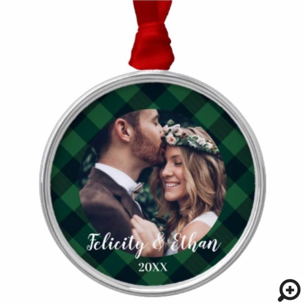 Green & Black Plaid Lumberjack Holiday Christmas Metal Ornament