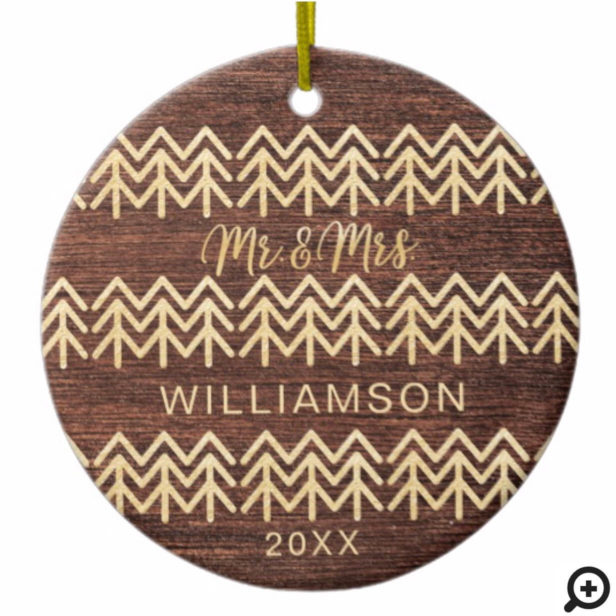 Mr & Mrs First Christmas | Wood & Gold Tree Photo Ceramic Ornament