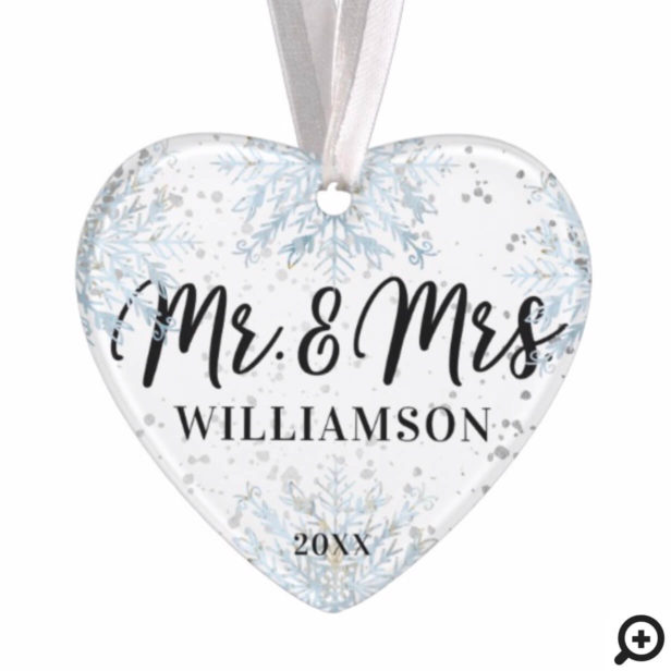 Mr & Mrs Newlyweds Christmas | Frosty Snowflakes Ornament