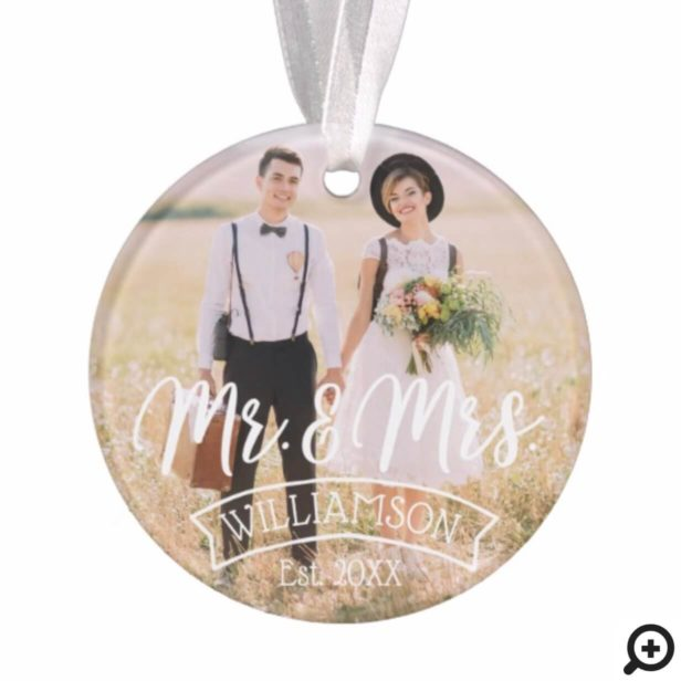 Mr & Mrs Newlyweds | Vintage Style Multiple Photos Ornament