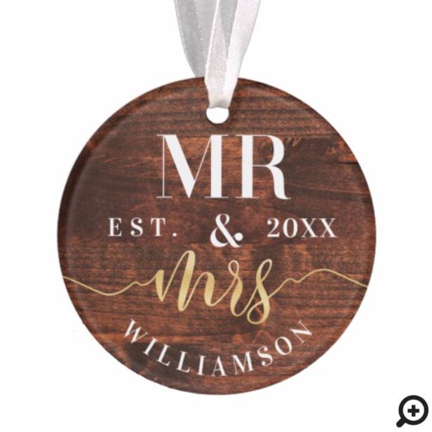 Mr. & Mrs. | Rustic Dark Woodgrain Christmas Photo Ornament