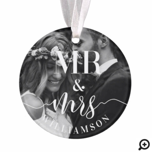 Mr & Mrs Newlyweds First Christmas Multiple Photo Ornament