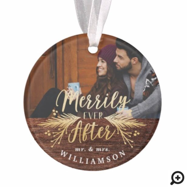 Merrily Ever After Rustic Mr & Mrs First Christmas Ornament