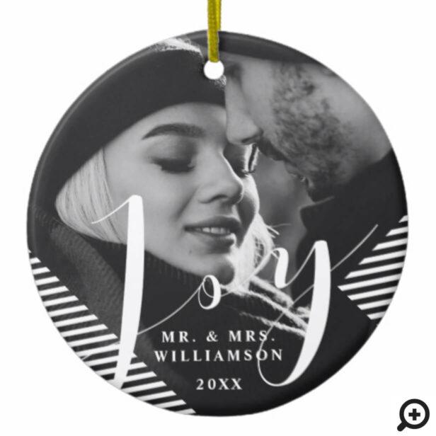 Modern, Trendy Black & White Joy | MR & MRS Photos Ceramic Ornament