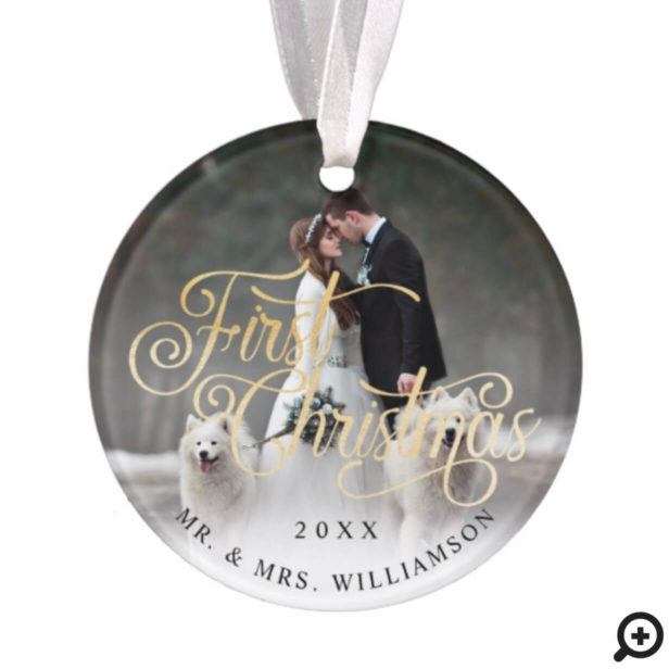 Ornate Black & Gold Mr & Mrs First Christmas Photo Ornament