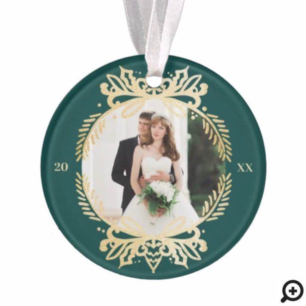Ornate Green & Gold Mr & Mrs First Christmas Photo Ornament