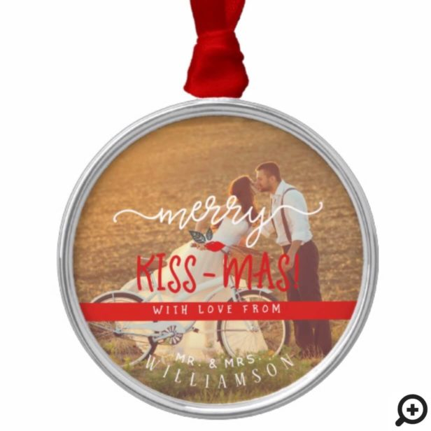 Merry Kiss-Mas Vintage Holiday Newlywed Photo Metal Ornament