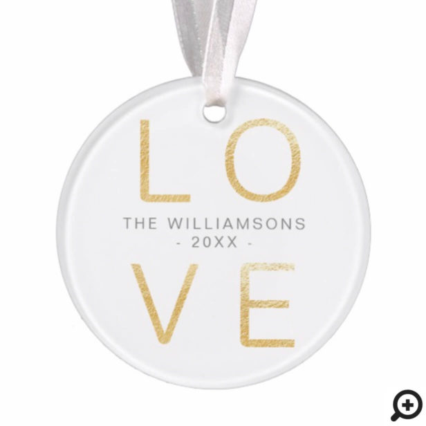 Modern Gold Love | Minimalistic Newlyweds Photo Ornament