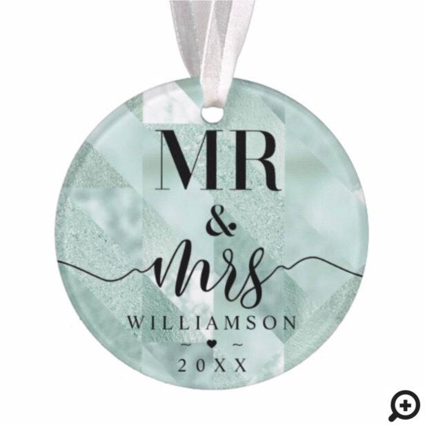 Mr & Mrs | Elegant Shimmering Mint Ornament Photo