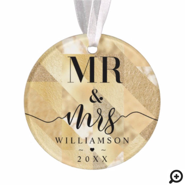 Mr & Mrs | Elegant Shimmering Gold Ornament Photo