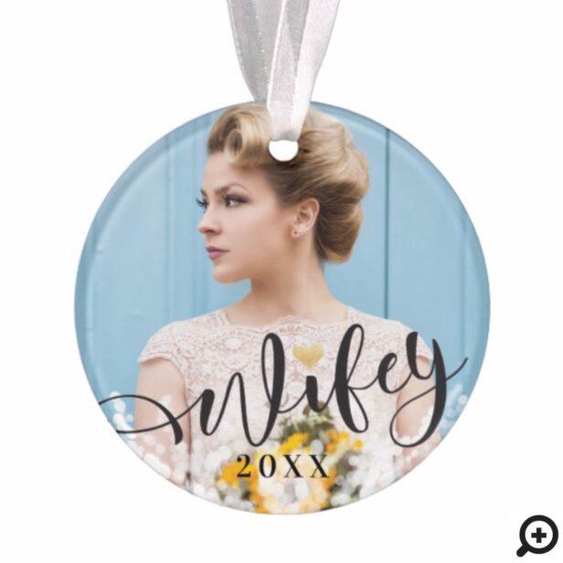 Wifey | Newlyweds Mr & Mrs Stylish Multiple Photos Ornament