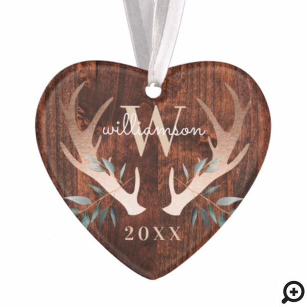 Rustic Wood Deer Antler & Greenery Monogram Photo Ornament