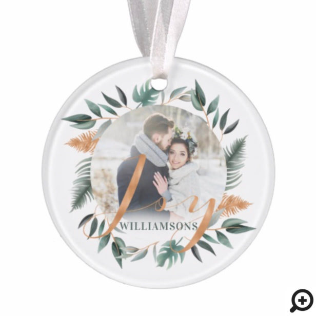 Mr & Mrs | Winter Sage Greenery & Copper Two Photo Ornament