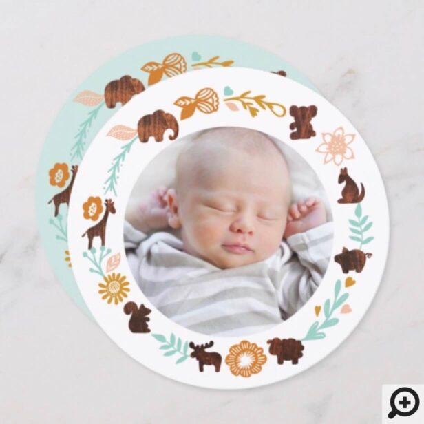 Baby Birth Announcement Card - Woodland Animals