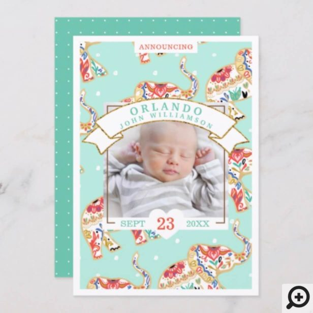 Baby Birth Announcement Card - Decorative Elephant