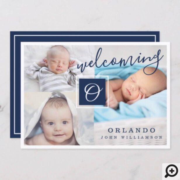 Birth Announcement - Multiple Photos Navy & White