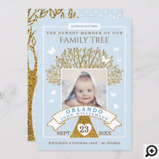 Baby Birth Announcement   Blue & Gold Family Tree