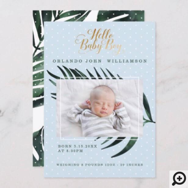 Baby Boy Birth Announcement - Tropical Palm Leaf